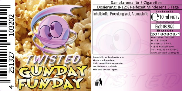 Twisted Aroma Gunday Funday 10ml Abverkauf eventuell MHD Ware