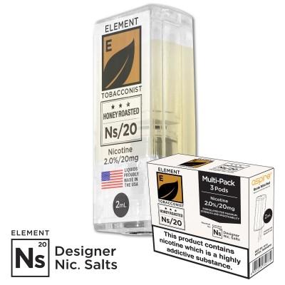 "Nikotinsalz Liquid aspire Gusto - ELEMENT Tabak ""Honey Roasted"" Ns20 POD 20mg/ml 3er Pack"