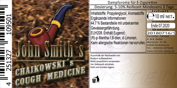 John Smith´s Blended Tobacco Flavor Chaikowski´s Cough Medicine 10ml Abverkauf eventuell MHD Ware