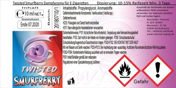 Twisted Aroma Smurfberry 10ml Abverkauf eventuell MHD Ware