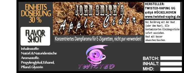 John Smith´s Blended Tobacco Flavor Apple Cider FlavorShot 5ml  Eventuell nahes oder überschrittenes