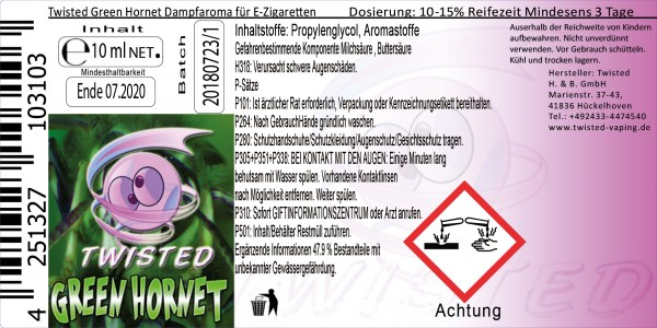 Twisted Aroma Green Hornet 10ml Abverkauf eventuell MHD Ware