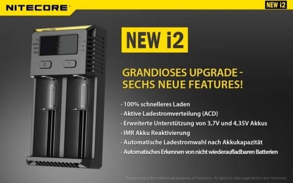 Nitecore Sysmax NEW i2 Universalladegerät (2 Schacht)