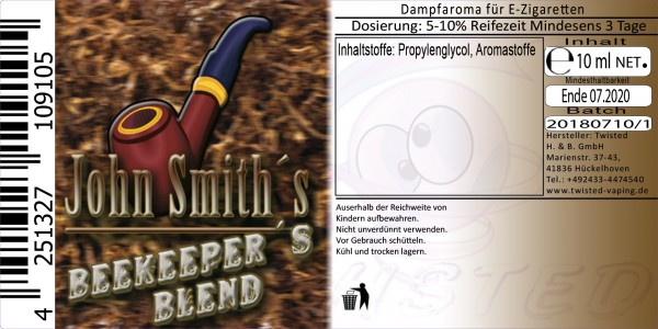 Twisted John Smith´s Blended Tobacco Flavor Beekeeper´s Blend 10ml