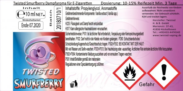 Twisted Aroma Smurfberry 10ml