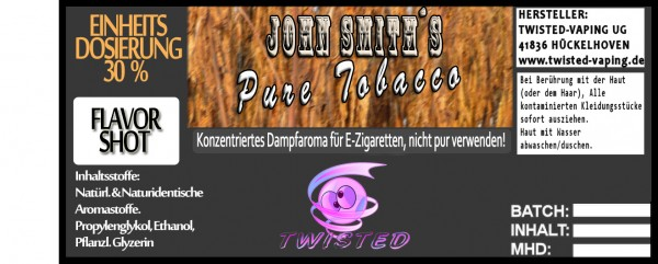 John Smith´s Blended Tobacco Flavor Pure Tobacco FlavorShot 10ml