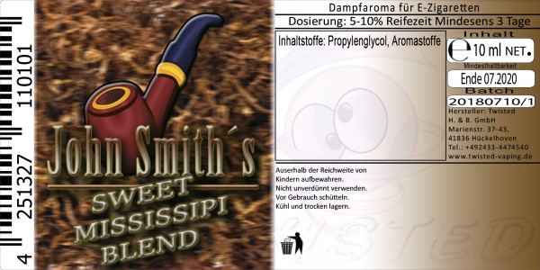 John Smith´s Blended Tobacco Flavor Sweet Mississipi Blend 10 ml