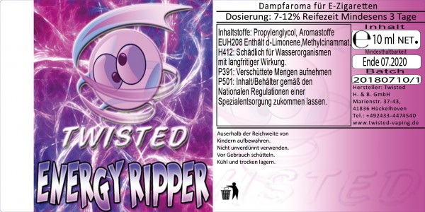 Twisted Aroma Energy Ripper 10ml Abverkauf eventuell MHD Ware