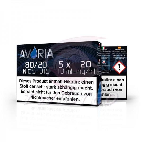 Avoria Nic-Shots 80/20 20mg/ml 5x10ml Bundle