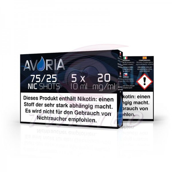 Avoria Nic-Shots 75/25 20mg/ml 5x10ml Bundle