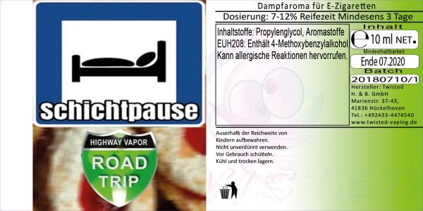 Road Trip Aroma Schichtpause 10ml Abverkauf eventuell MHD Ware