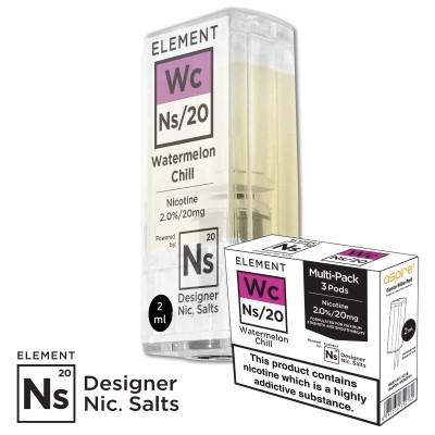 "Nikotinsalz Liquid aspire Gusto - ELEMENT ""Watermelon Chill"" Ns20 POD 20mg/ml 3er Pack"