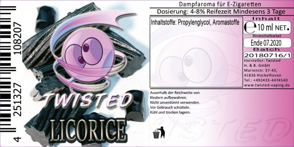 Twisted Aroma Licorice 10ml Abverkauf eventuell MHD Ware
