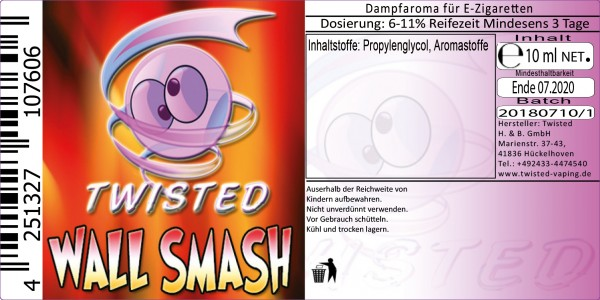 Twisted Aroma Wall Smash 10ml Abverkauf eventuell MHD Ware
